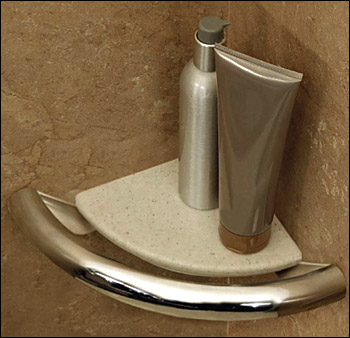 Invisia Collection Corner Shelf Grab Bar for Bathrooms and Showers