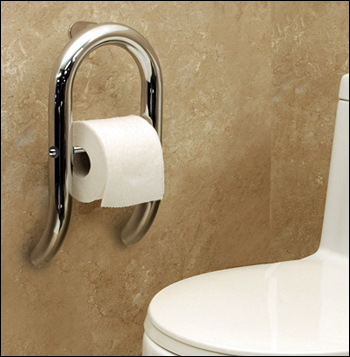 Toilet Paper Roll Holder and Grab Bar Combo - Invisia Collection