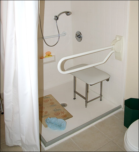 wheelchair shower with collapsible shower dam, weighted shower curtain and folding grab bar