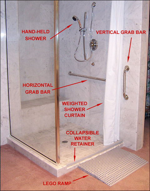 Shower Dam for a Wheelchair Shower. Barrier Free Accessible Home