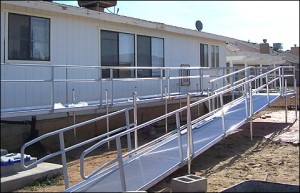 Switchback ramp for Ada mobile homes