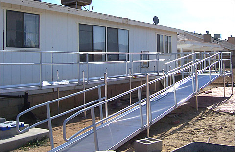 Modular access ramp designs switchback ramp configuration for Ada mobile homes